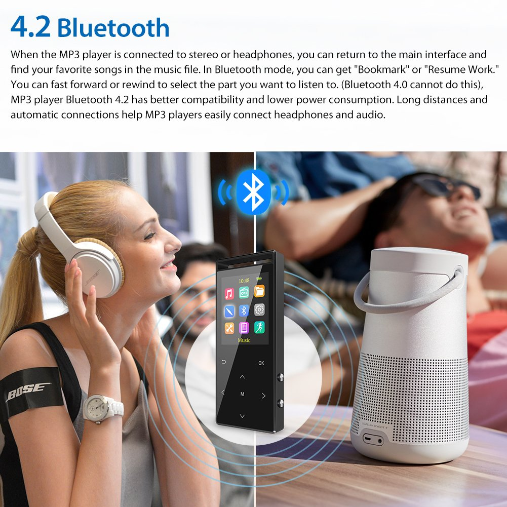 MP3 Player with Bluetooth, 16GB Portable Digital Music Player with