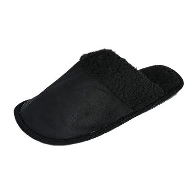 Westend Men's Solid Color Slip on Slippers, Medium (9-10), Black | Slippers
