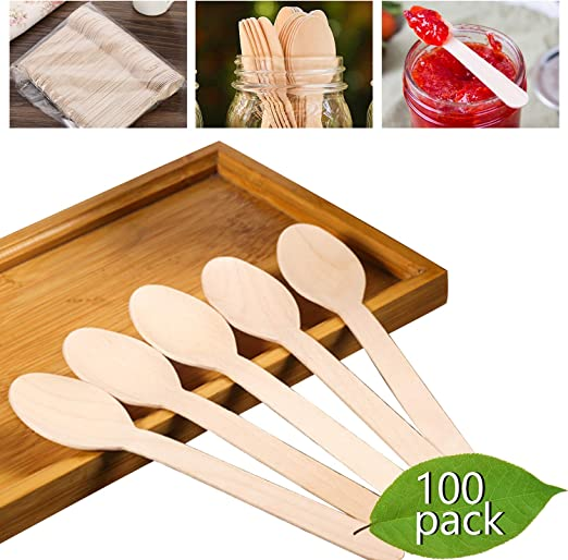 Cucharas de madera desechables pesadas – KITMA 6.5 pulgadas madera ...