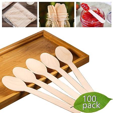 Cucharas de madera desechables pesadas - KITMA 6.5 pulgadas ...