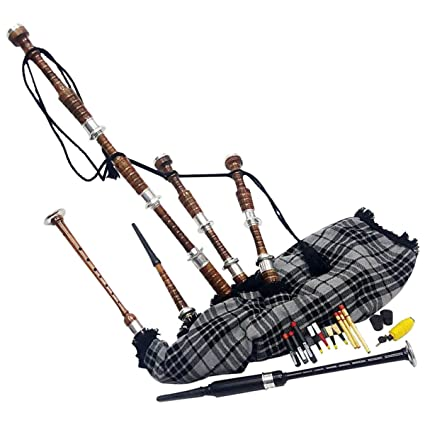 Bagpipes Wind & Woodwind Scottish Highland Bagpipe Brown Silver Playable Practice Chanter Tutor Book Case