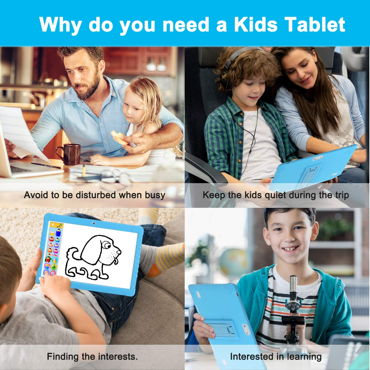 SANNUO Kids Tablet 101 inch GMSCertified Android 81 and Kids Mode Dual SystemQuad Core16GB ROM2050MP