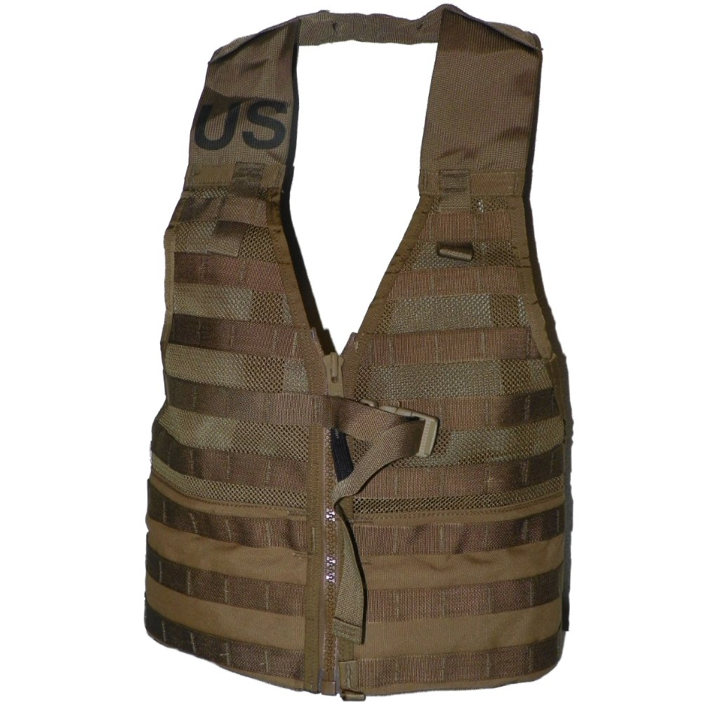 6 X USMC Tactical FLC Vest, Fighting Load Carrier w/ Zipper, Coyote Brown, MOLLE II by