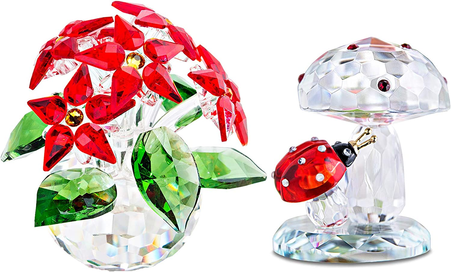 H&D HYALINE & DORA Christmas Day Gifts,Handmade Crystal Figurine Ornament,Crystal Poinsettia with Ladybug on Mushroom Paperweight