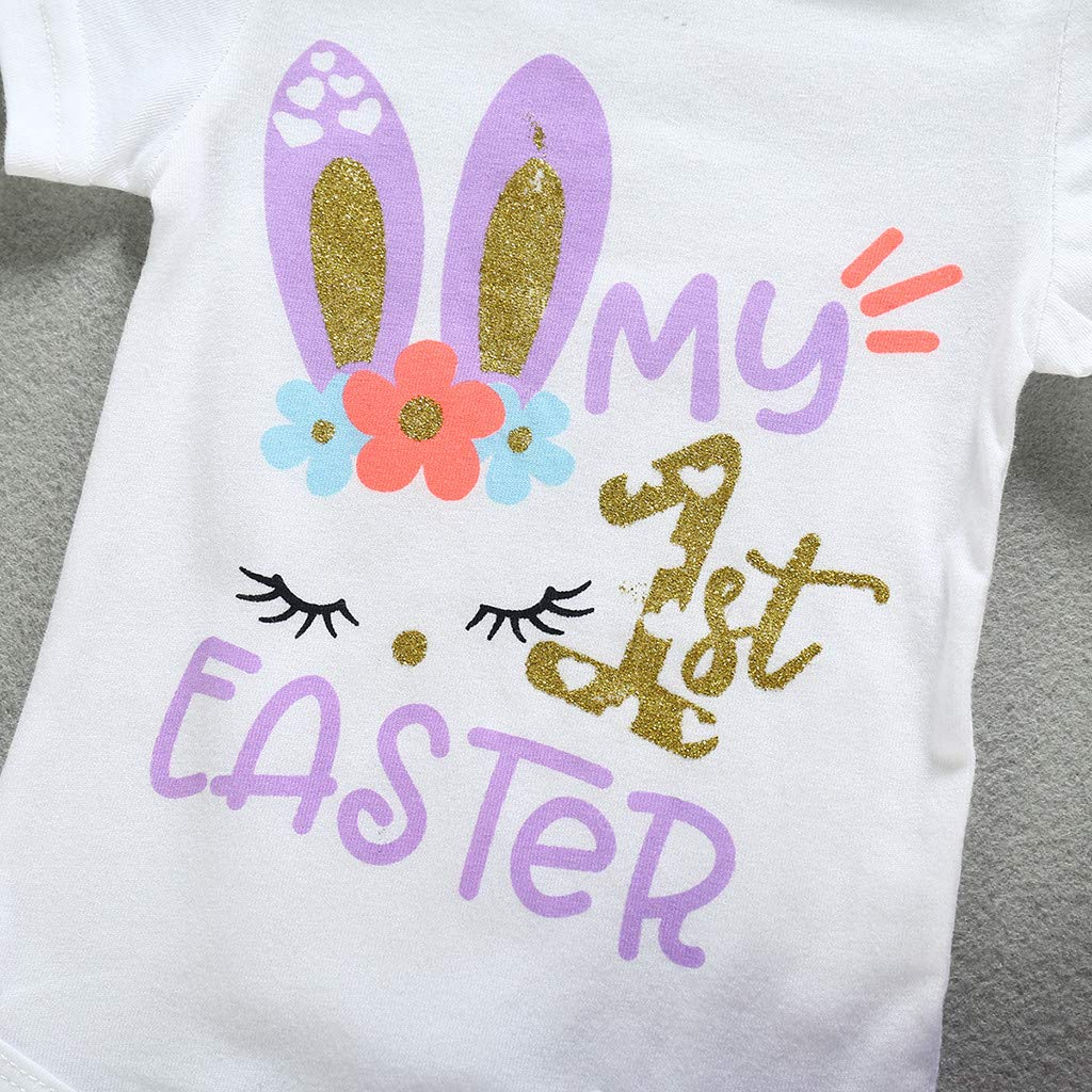 Voberry My 1st Easter Outfit Baby Girl Bunny Letters Romper Tutu Dress with Headband Bodysuit Clothes Set