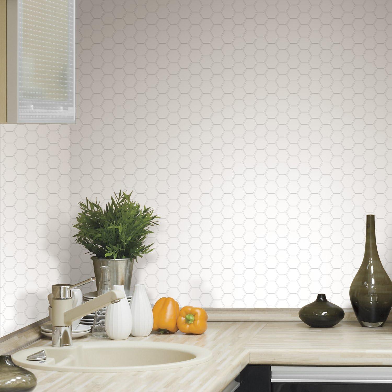 Roommates Sticktiles Pearl Hexagon Peel And Stick Backsplash Tiles 4 Per Pack Multi 10 5x10 5 Til3458flt Amazon Com