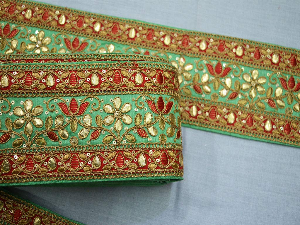 Wholesale Green Embroidered Sewing Ribbon by 9 Yard gota Patti Fabric Trim and Embellishment Sari Border Decorative Sewing Crafting Trimming by Generic