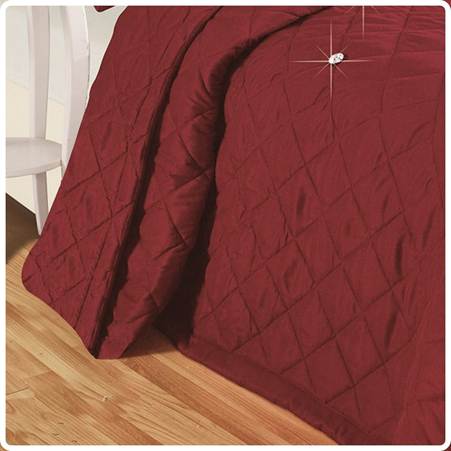 Impero Romano 5 Piece Reversible Quilted Diamond Stitched Bedspread Comforter Coverlet Throw 100/% Polyester Microfibre Bed Set With Matching Decorative Filled Cushion Double, Black