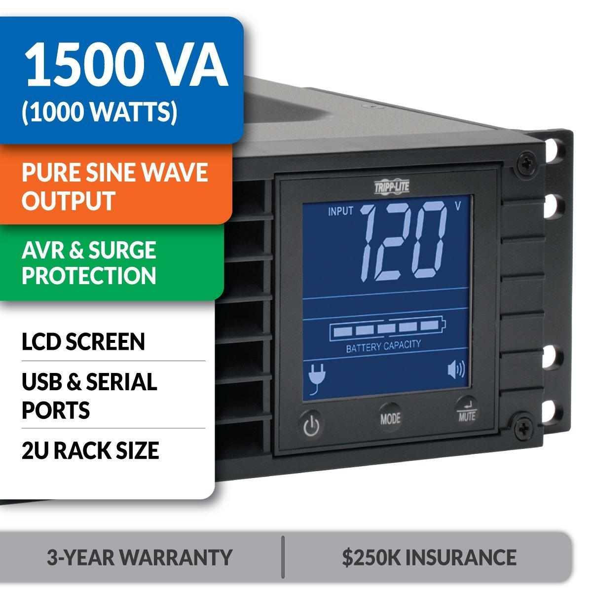 Tripp Lite 1500VA Sine Wave UPS Battery Backup, LCD, 1000W AVR Line-Interactive, 2U Rackmount, USB, DB9, 2 & 3 Year Warranties, 250,000 Insurance (SMC15002URM) by Tripp Lite