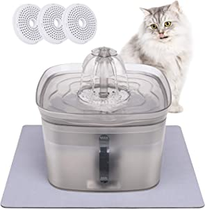 Cat Water Fountain, Pet Fountain Ultra Quiet Automatic 84oz/2.5L, Cat Waterer, Dog Bowl Dispenser, 3 Filters and 1 Silicone Mat Included