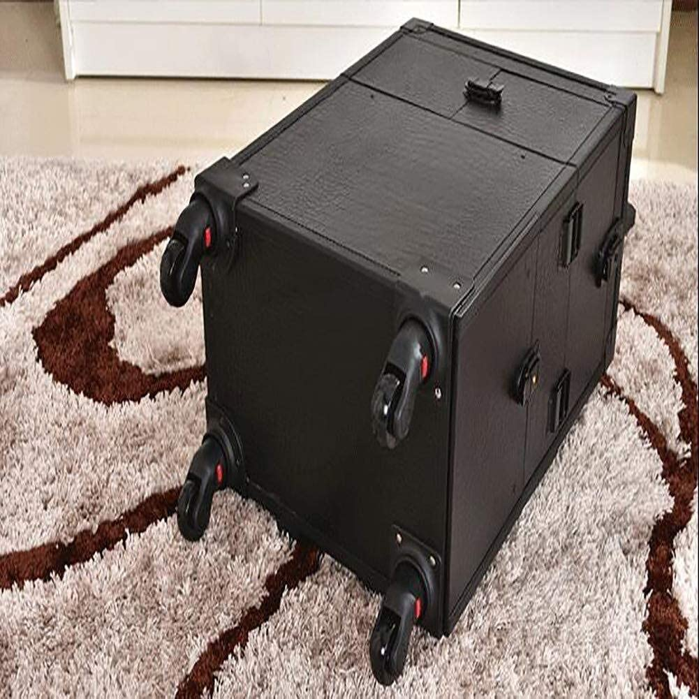 trousses et vanity Malette Trolley Esthetique Roulant Cas de maquillage roue amovible universel Silencieux professionnel Aluminium Artiste Beaut/é interne Chariot Maquillage Compartments train Valises