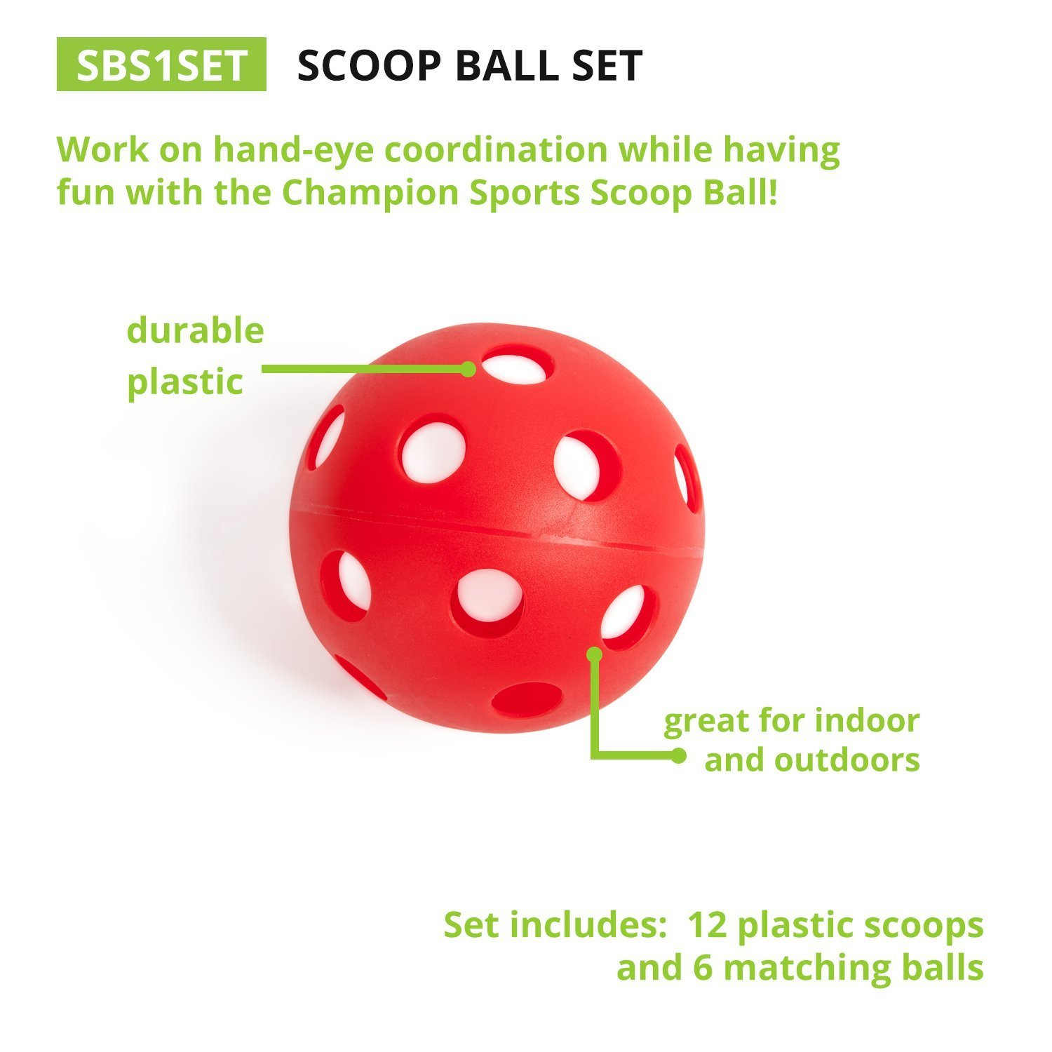 Champion Sports. Scoop Ball Set: Classic Outdoor Lawn Party & Kids Game in 6 Assorted Colors (Limited Edition) by Champion Sports. (Image #2)
