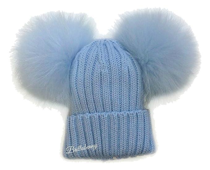BrillaBenny Cappello Baby Pelliccia Doppio PON PON Celeste Azzurro Sky (1-3  Anni) Cappellino Baby Blue Cuffia Hat Fur Kids Double Pom Poms  Amazon.it   ... b5b1594b4be1