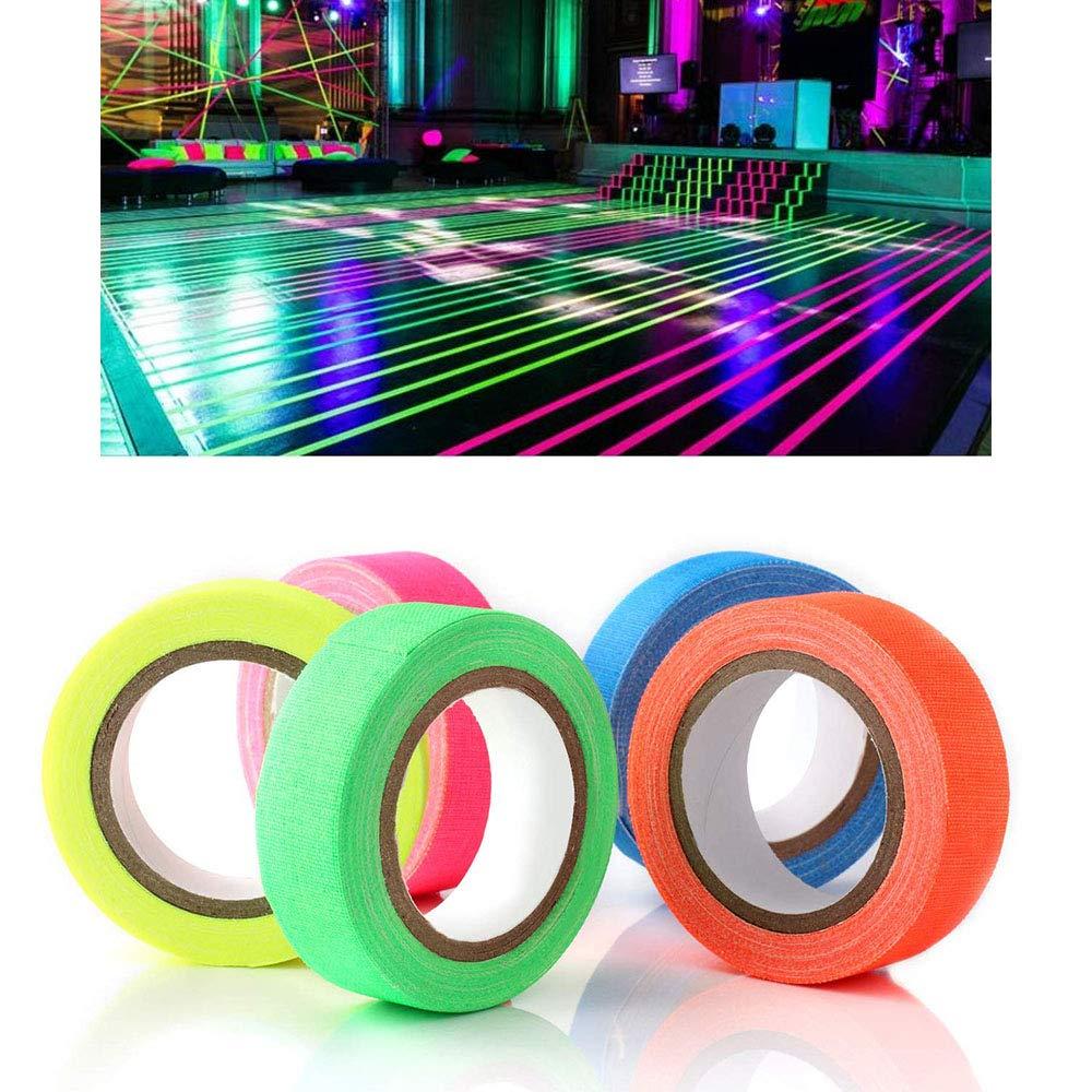 Globaldream Six Rolls//Pack Neon Tape UV Blacklight Glow Reactive Fluorescent Cloth Gaffer Tape Nastro in tessuto fluorescente Party Decorate per bambini Compleanno Glow Party Decorazione domestica