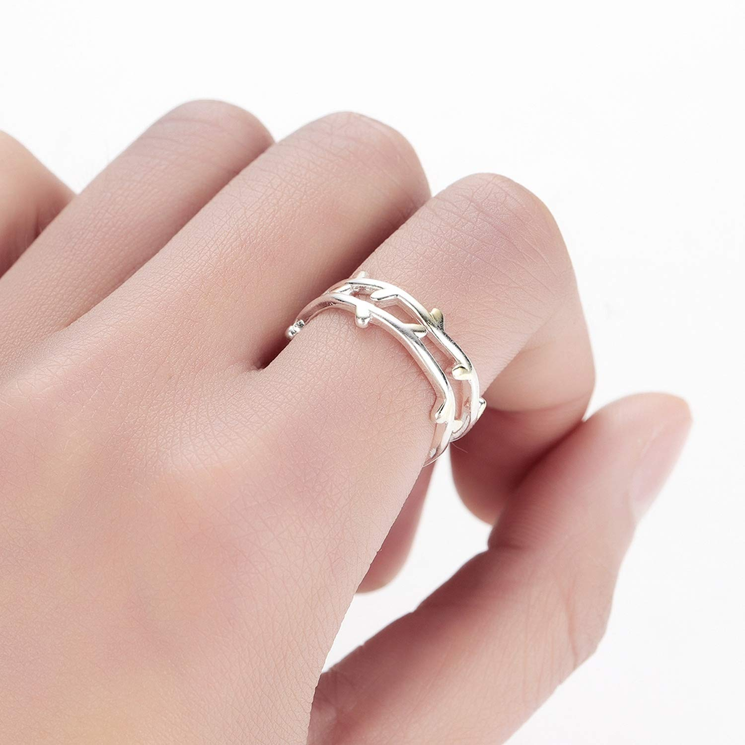 Candy-OU Wind New Double Layer Branch Rings for Women Adjustable Finger Charm Leaf Ring Wedding Rings 2019 Bagues