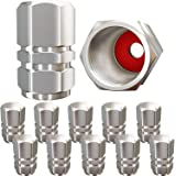 Tire Valve Caps (12 Pack) Heavy-Duty Stem Covers   Dust Proof, with O Rubber Seal   Hexagon Design   Outdoor, All-Weather, Le