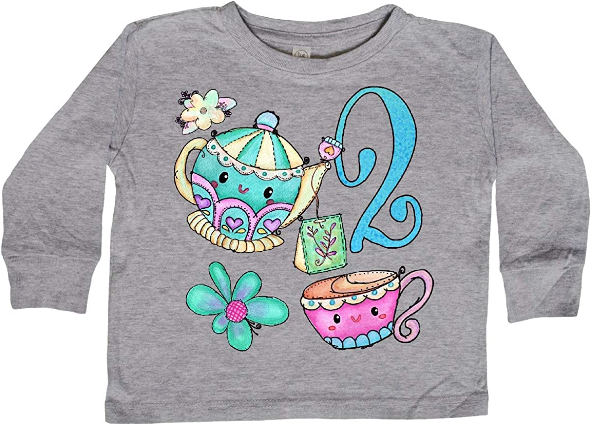 inktastic Cute Tea Party 2nd Birthday Toddler Long Sleeve T-Shirt