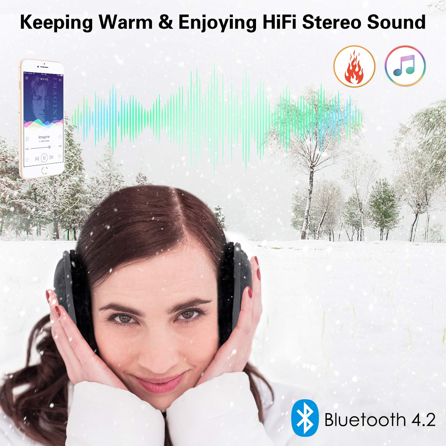 ink-topoint Bluetooth Earmuffs Headphones,Wireless HD Stereo Music Ear Warmer, Handfree Headset with Built-in Speaker Unisex Winter Ear Muffs for Walking,Running,Skiing,Indoor Outdoors Activities