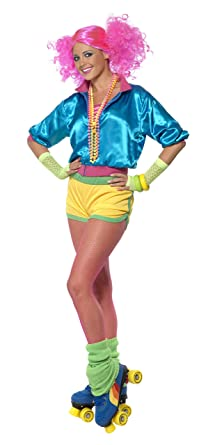 b513e08e2ef0b Smiffys Women's Skater Girl Costume Neon with Top Shorts and Tube Top,  Multi, Small