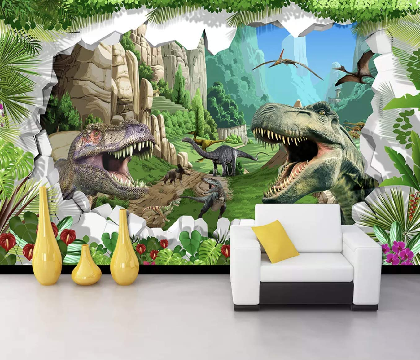 Amazon Com Murwall Kids Wallpaper 3d Dragon Wall Murals Dinosaurs