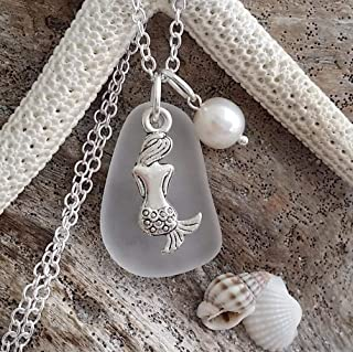 """product image for Handmade in Hawaii,""""Crystal"""" sea glass necklace,""""April Birthstone"""", Mermaid charm, freshwater pearl, (Hawaii Gift Wrapped, Customizable Gift Message)"""