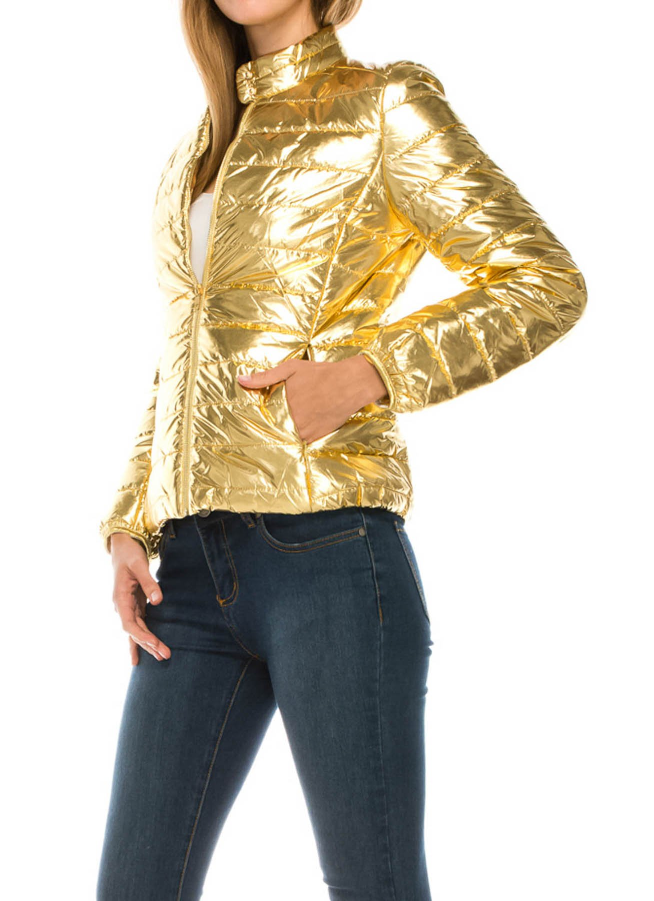 JEZEEL Women's Lightweight Solid Quilted Metallic Jacket(J201,XL,Gold)
