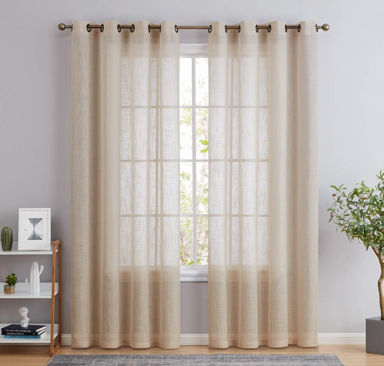 HLC.ME Abbey Faux Linen Textured Semi Sheer Privacy Light Filtering Transparent Window Grommet Floor Length Thick Curtains Drapery Panels for Office & Living Room, 2 Panels (54 W x 84 L, Beige)