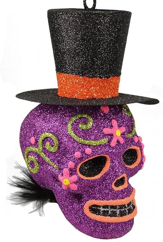 Shiny Brite Christopher Radko Halloween Glitter Orange Purple Glass Ornaments