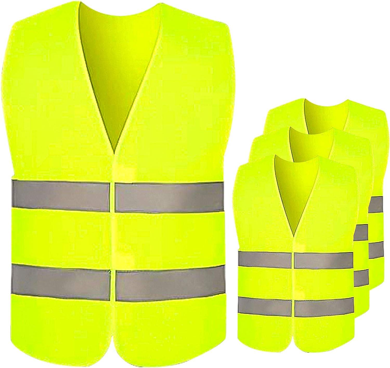 OMZGXGOD Alta Visibilidad Chaleco Reflectante de Seguridad con Bolsillos y Cremallera para Trabajos al Aire Libre,Chaleco de Seguridad para ni/ños,Hecho con Cinta Reflectante 3M