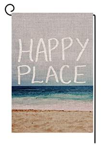 Happy Place Beach Small Garden Flag Vertical Double Sided 12.5 x 18 Inch Summer Burlap Yard Outdoor Decor