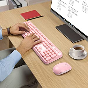 SADES V2020 wireless keyboard and mouse sets,pink keyboard with round keycaps, 2.4GHz Dropout-Free Connection, Long Battery Life for PC/laptop (Color: White pink)