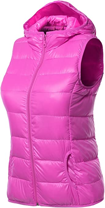 onlypuff Vest for Women Stand Collar Zipper Casual Herringbone Outwear Vests with Pockets