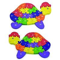 Viga - Puzzle Tartaruga Legno Lettere e Numeri, 55250