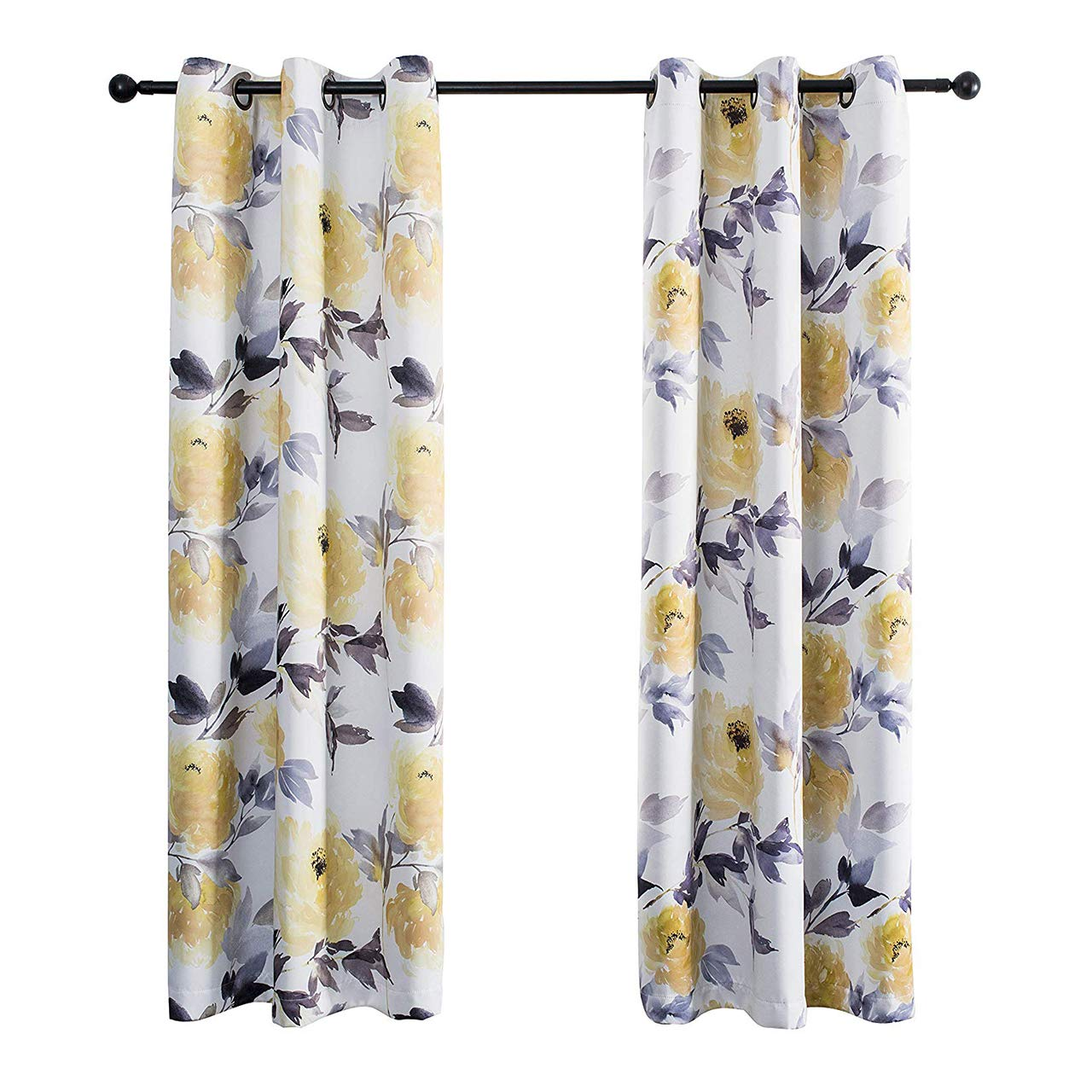 MYSKY HOME Printed Floral Curtains for Living Room, Room Darkening Grommet Curtain Panels 42 inch Wide by 63 inch Length (Yellow, 1 Pair)