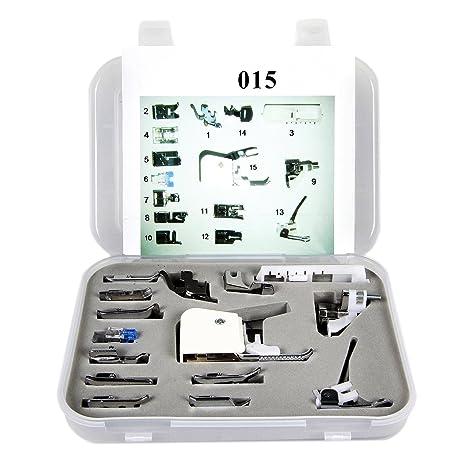 Profesional 15 piezas para máquina de coser de costura pies para todos bajo filo Máquinas de
