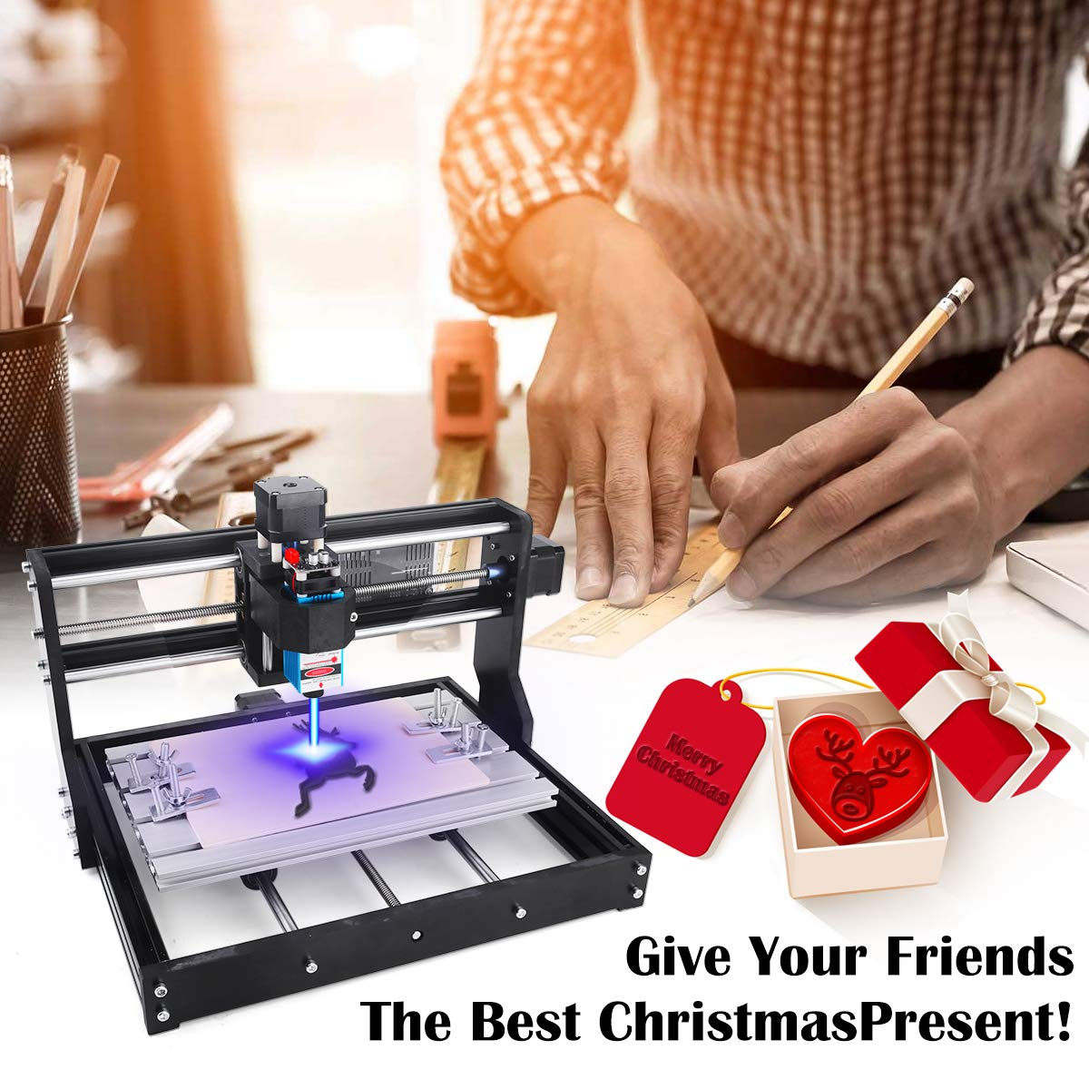 2-in-1 5500mW Laser Engraver CNC 3018 Pro Engraving Machine Working Area 300x180x45mm GRBL Control 3 Axis CNC Router Kit Wood Carving Engraving Machine with Offline Controller