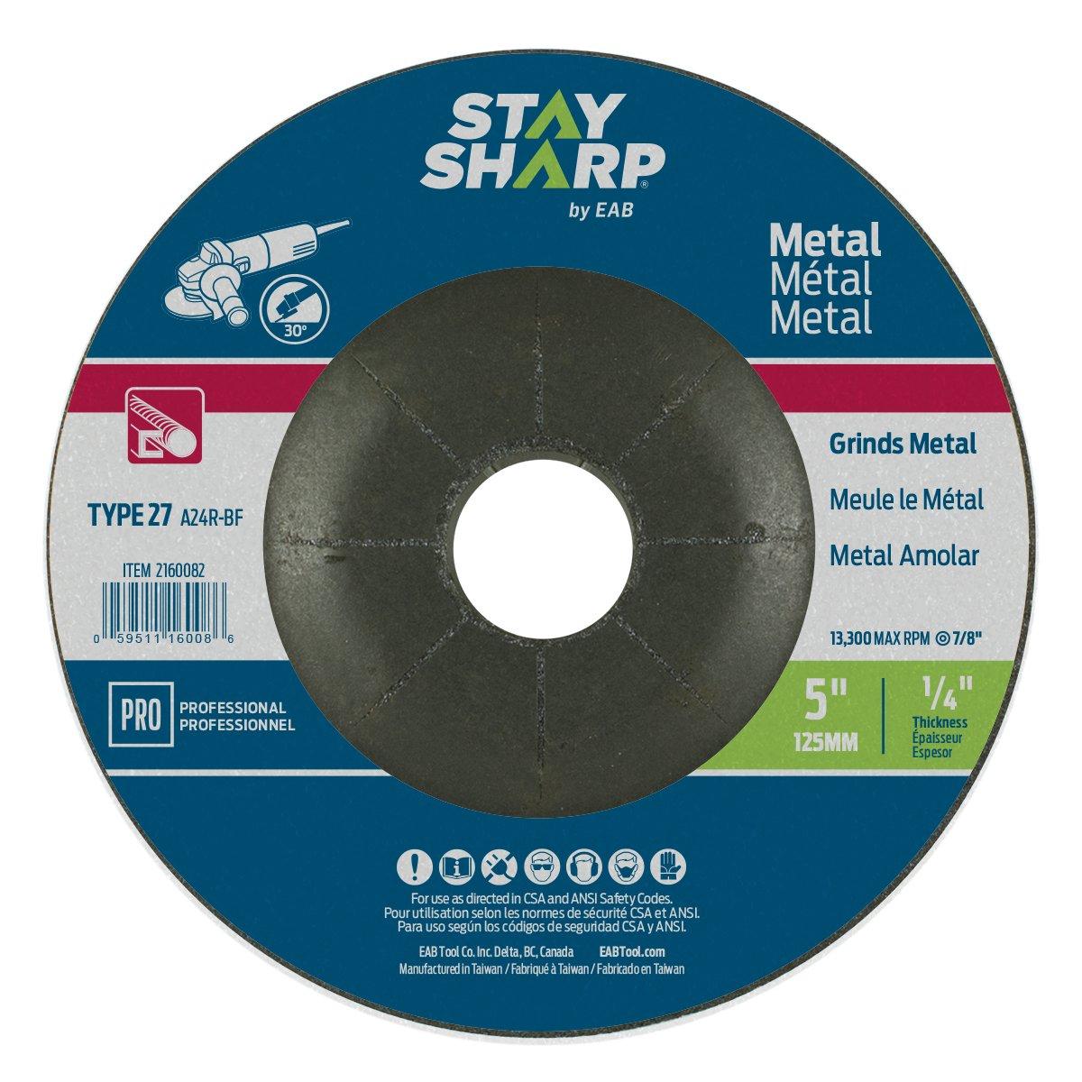 EAB Tool 2160082 5 x 1/4' Standard Metal Depressed Center Wheel EAB Tool Company USA Inc