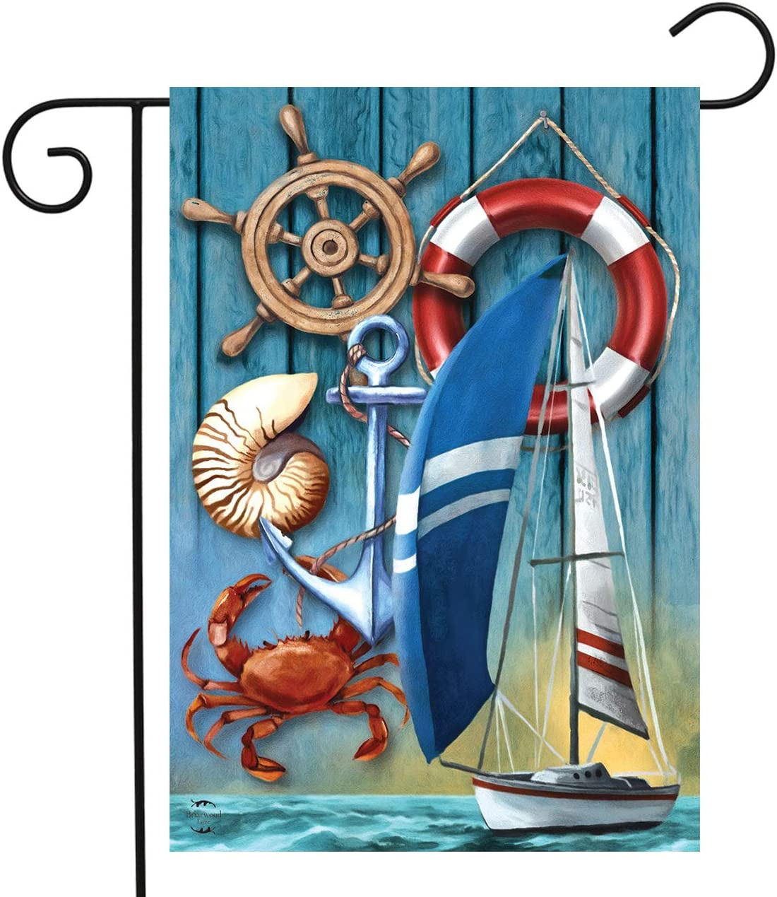 "Briarwood Lane Nautical Adventure Summer Garden Flag Sailboat Crab 12.5"" x 18"""