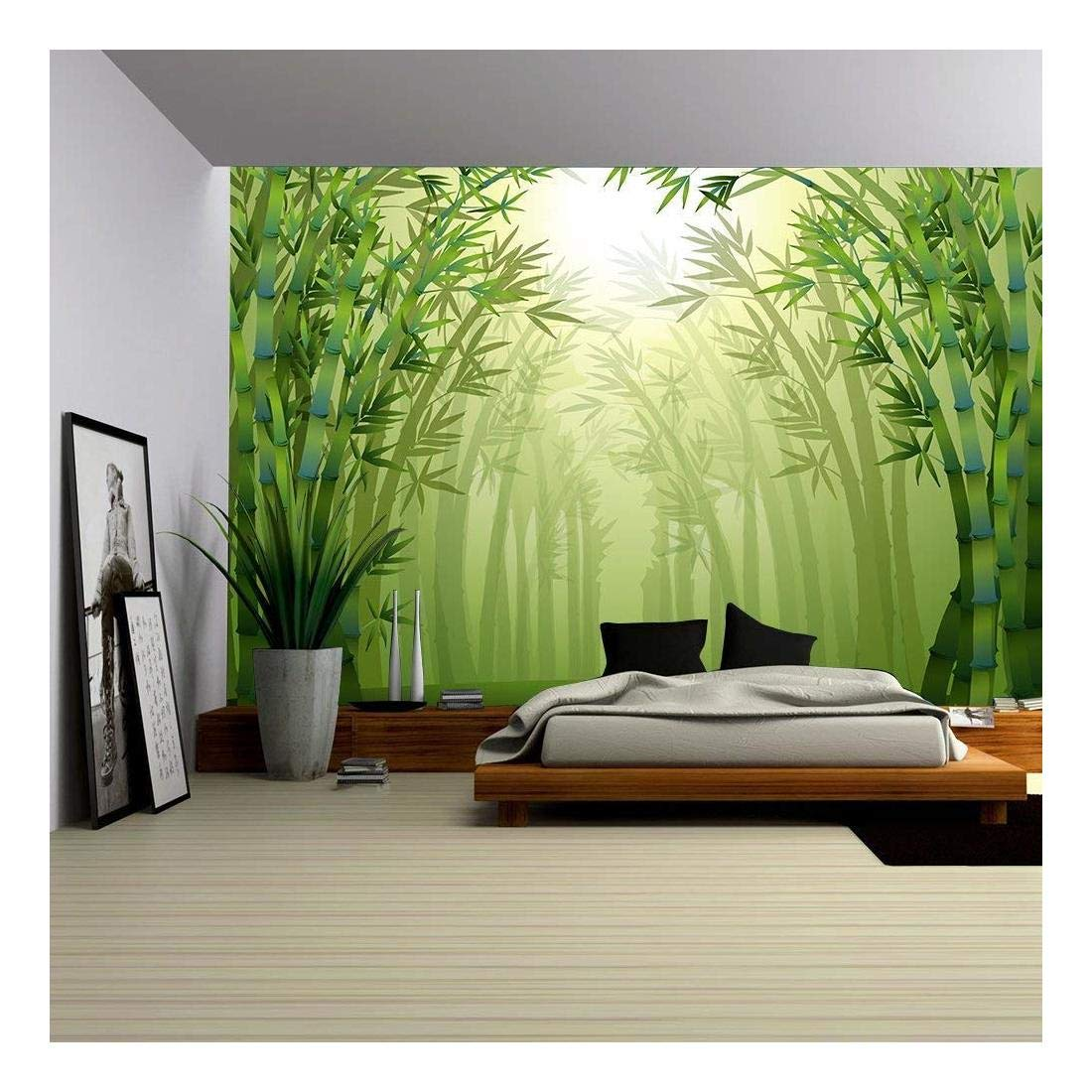wall26 - Illustration of The Bamboo Trees Inside The Forest - Removable Wall Mural | Self-Adhesive Large Wallpaper - 100x144 inches by wall26 (Image #1)