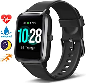 "Blackview Smart Watch for Android Phones and iOS Phones, All-Day Activity Tracker with Heart Rate Sleep Monitor, 1.3"" Full Touch Screen, 5ATM Waterproof Pedometer, Smartwatch for Men Women"