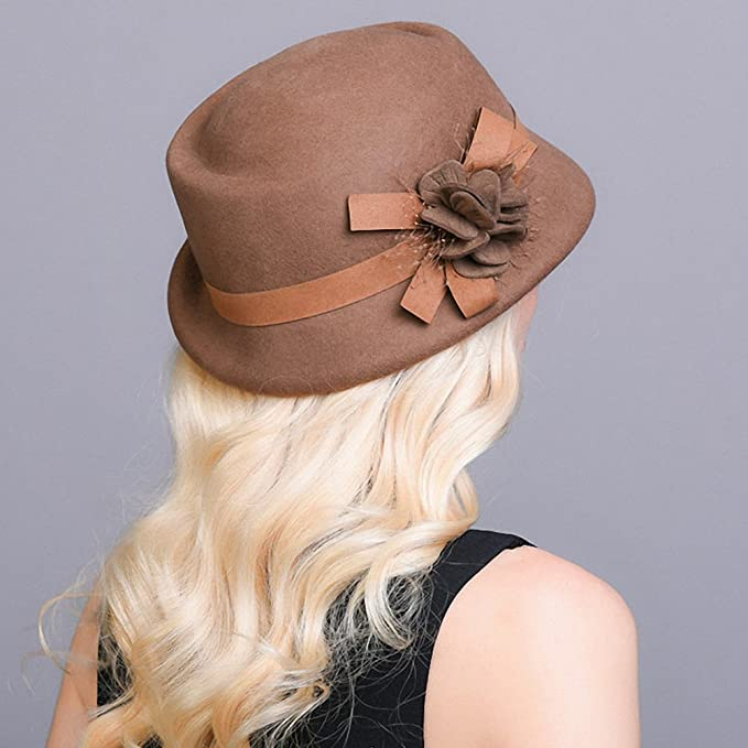 1950s Women's Hat Styles & History Maitose Womens Belt Flowers Wool Felt Bowler Hat $33.80 AT vintagedancer.com