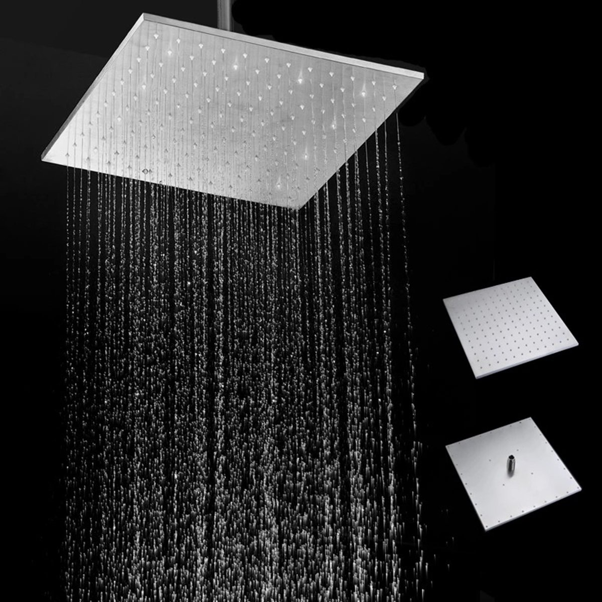16'' 250MM 304 Stainless Steel Rainfall Showerhead Square Ultra Thin Slim Rain Shower Head by Ologymart (Image #1)