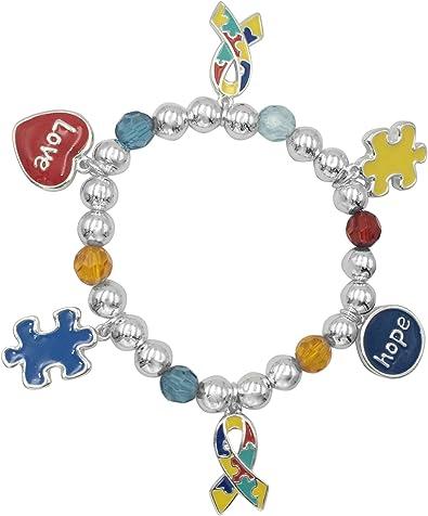 Autism Awareness Puzzle Piece Ribbon Enamel Dangle Charm for European Bracelets Fashion Jewelry for Women Man