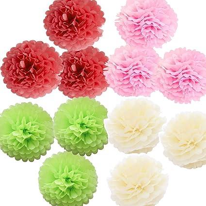X Sunshine Art Craft Pom Poms Tissue Paper Flower 12pcs