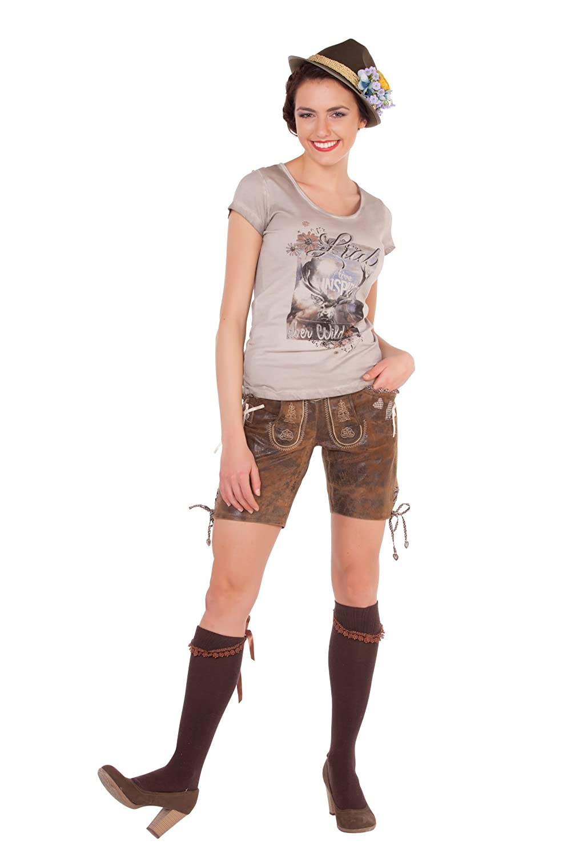 Lederhose Rosita inkl. Gürtel von MarJo braun Größen 32-40: Amazon.de:  Bekleidung