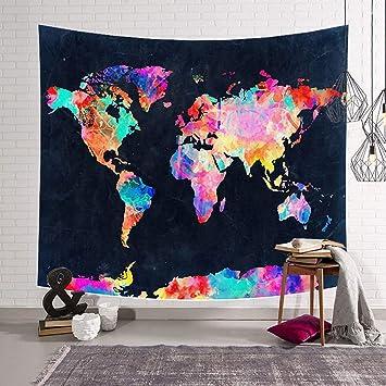 Tapiz de pared con mapa del mundo, para colgar en la pared, decoración de dormitorio de ...