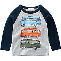Snyemio Camiseta de Manga Larga Niño Algodón Pulóver Blusa 1-7 años