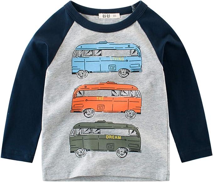 Snyemio Camiseta de Manga Larga Niño Algodón Pulóver Blusa: Amazon ...
