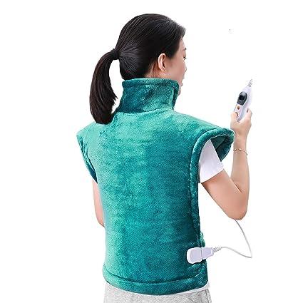 60 x 90cm Almohadilla Térmica Eléctrica para la Espalda, Hombros y Cuello Calentado con Tecnología de Calentamiento Rápido con 5 Niveles de ...