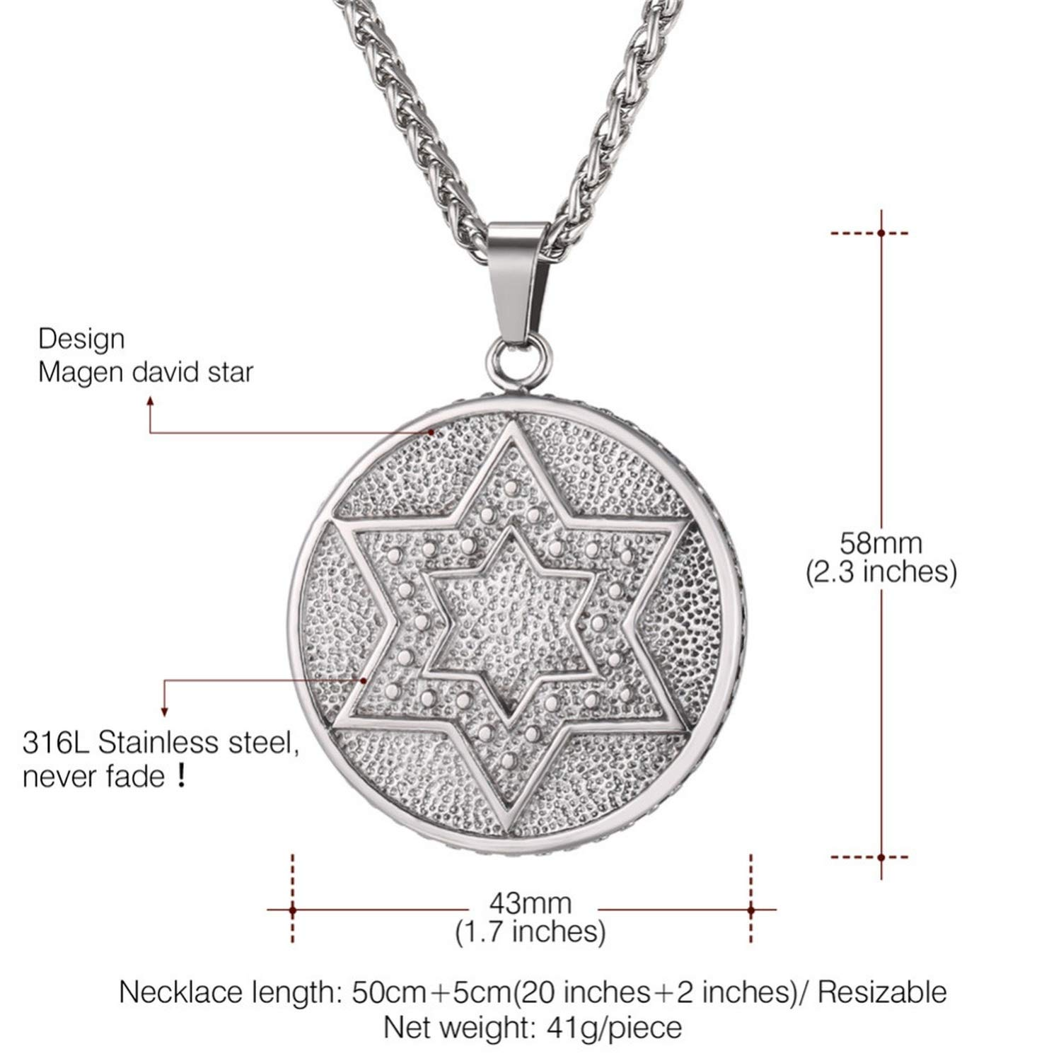monicaexclusive Round Magen David Star Necklace Pendant /& Chain Men Jewelry Gold//Silver//Black Color Double Stars Necklaces